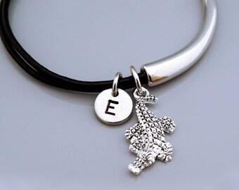 Alligator charm Bangle, alligator bracelet, Crocodile bracelet, Crocodile bangle, Leather bracelet, Leather bangle, Personalized bracelet