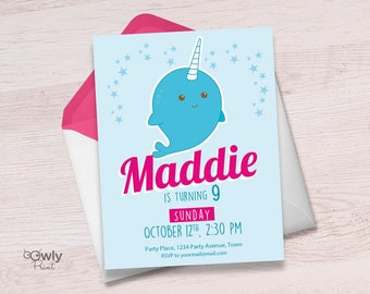 Printable Personalized Narwhal Birthday Invitation. Ready to print Narwahl Birthday Invitation. PDF  Girl Birthday Invitation.