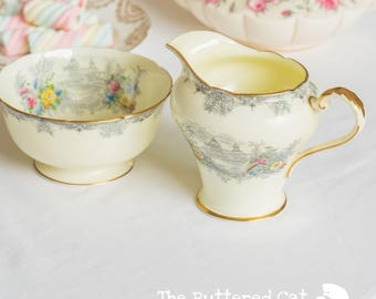 Exquisite vintage pale yellow, hand-finished Aynsley milk jug and sugar bowl