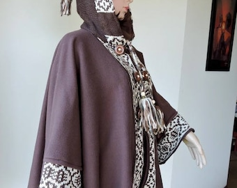 fleece hood and ethnic patterned chocolate brown knit cape coat