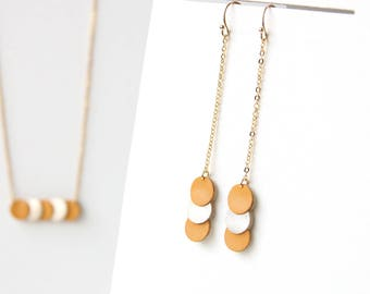 KEY EARRINGS. mother of saffron yellow leather and gold, Platinum, gold-plated
