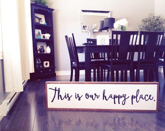 """This is our happy place wood sign 12x48"""""""