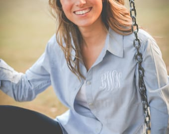 Monogrammed Chambray Button Down | Womens Chambray | Monogram Chambray | Chambray Button Down | Gift for Her | Gifts under 50