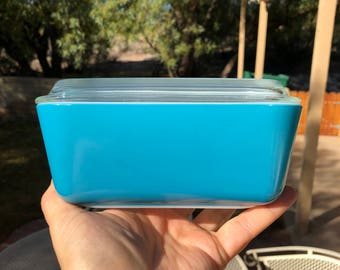Pyrex Horizon Blue 502 Refrigerator Dish with Lid