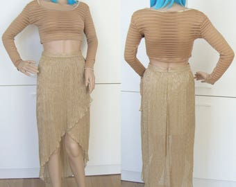 ASYMMETRICAL GOLDEN SKIRT -sheer, mermaid, cyber, 90s, 80s, party, club kid, festivals, tulip, sexy, avant garde, shiny, glitter, princess-