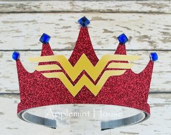 Wonder woman Headband,Wonder Woman  Crown,Super Hero Crown,Wonder woman Birthday Crown,Super Hero Birthday Crown,Wonder Women,Super Hero