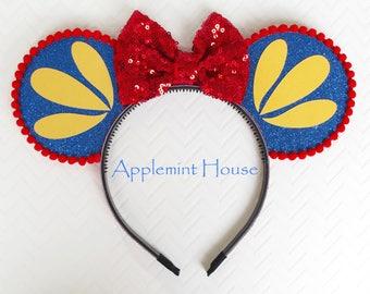 Snow White Mouse Ears Headband , Snow White ears,Snow White Mouse Ears, Minnie Mouse Headband,Snow White Princess Ears, Mickey Ears