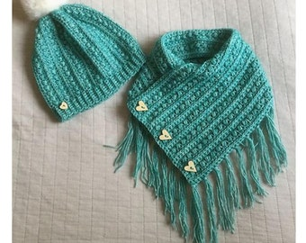 shawl and matching loose beanie