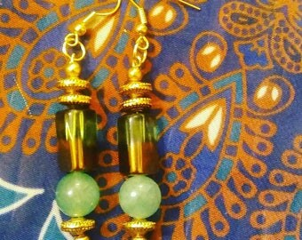 GreenBronze Column - Handmade earrings by Ansley Jukeboxx Joye