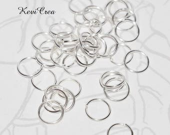 50 x 7mm silver plated jump rings