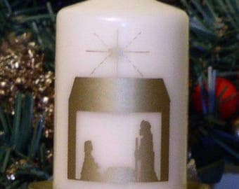 Christmas Nativity Silhouette candle