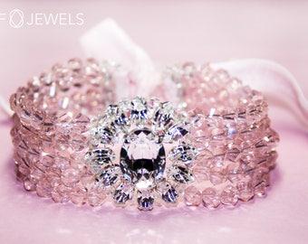 "Bracelet ""Dorothea"" pastel pink white made with V. Hand-drawn crystals from Swarovski ®"