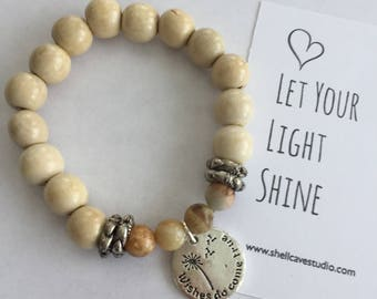 Wishes Do Come True Wood Bead Mala Bracelet