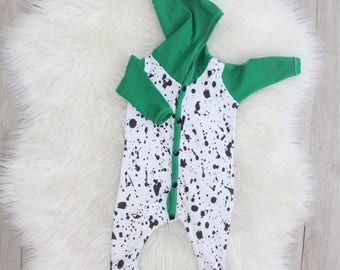 Paint Splatter Romper - Snap Up Once Piece - Pixie Hood - Kelly Green - Baby Boy - Gender Neutral - Newborn Outfit - Coming Home - New Baby