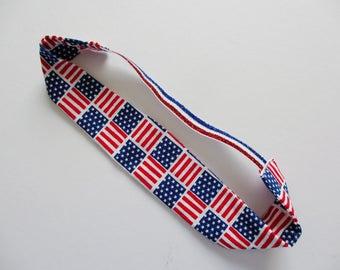 American Flag Print Red White & Blue Glitter Elastic Headband