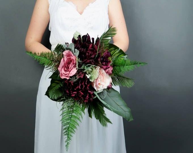 Boho wedding burgundy blush medium bridal bouquet cascading greenery ferns tropical monstera leafs artificial silk flowers realistic roses