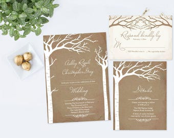 Editable Rustic Elopement Invitation Set, Elope Invitation, Wedding Invite, We Eloped, Wedding Elope, Instant Download, Wedding Printable