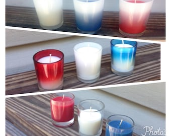 Forth of July Votive Candles, 3 Sets of 3 Glass Styles, Red White & Blue with Scents, Ombre Frosted or Clear Jars