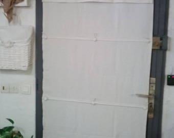 Curtain/blind door white linen custom, Monogram and flowers in linen, manual lifting