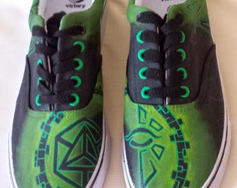 Ingress Enlightened Custom Vans Shoes Hand Painted Personalised