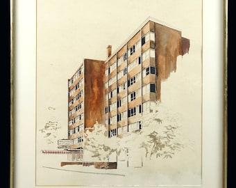 Mid Century Farren Waldorf Astoria Watercolor Architectural Rendering Design MCM MOD Modern Luxury Hotel Business Building