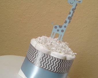 Set of 4 - Mini Diaper Cake - Giraffe Diaper Cake - Boy Diaper Cake - Shower Diaper Cake - Centerpiece - Newborn Gift - Shower Decoration