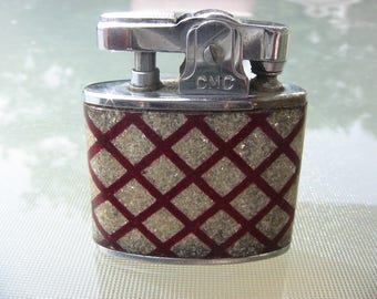 Vintage Lighters Smoking Accessories Tobacciana Vintage Continental Lighter Automatic Cigarette Lighter Red Sparkle Lattice Acrylic Wrap