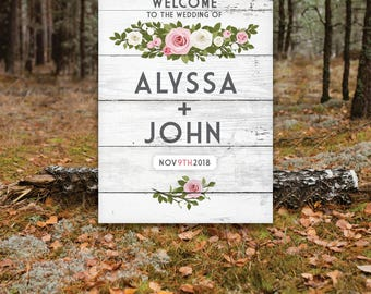 WHITE WASH Wood Large Sign Wedding Welcome . Rose Garland Eucalyptus Olive Branch Blush Pink Gray . Printed on Paper • Foam Board • Canvas