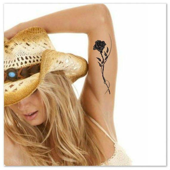 Temporary tattoo 2 black rose waterproof ultra thin realistic for Realistic temporary tattoos