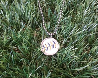 Baseball Necklace- Blue/Gold Stitches Limited Edition- Round 3/4 inch, Metal Back