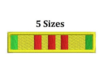 Vietnam Service Ribbon 5 sizes Army Military Digitized Machine embroidery filled design Digital Download