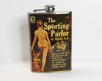 The Sporting Parlor Vintage Pulp Fiction Book Cover 8 oz stainless steel flask