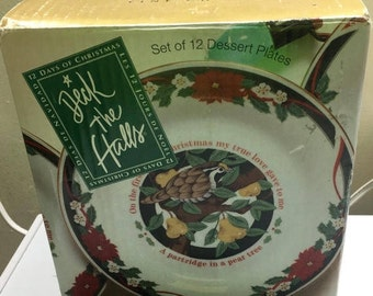 ON SALE Tienshan DECK the Halls All 12 Days of Christmas Salad Plates Poinsettia Ribbons Green Border New in Box Never Used