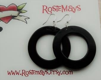 50s Pin Up Hoop Earrings,Black Rockabilly Earrings,50s Style Hoop Earrings,Lucite Style Black Hoops,Mid Century Modern,50s Inspired Jewelry