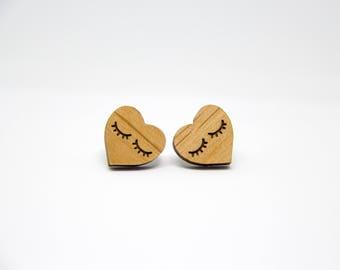Eyelash Heart Earrings - Wooden Heart Earrings - Lasercut - Eyelash Earrings - Stud Earrings