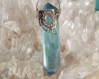 Beautiful Aqua Aura Pendant with Moonstone cab ~ set in Silver