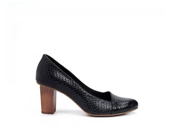 Black High Heels Leather Shoes / Women Pumps / Evening Wooden Heel Shoes / Office Shoes / Elegant Sexy Shoes / Snake Skin Shoes - Rose