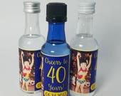 Personalized 40th Birthday Mini Liquor Bottle Labels Party Favor 50ml Milestone Birthday Party Mini Liquor Labels Custom Design Waterproof