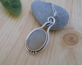 Moonstone sterling silver pendant, nature jewelry, woodland pendant, moonstone necklace, silver stone pendant, moonstone jewelry