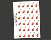 Guitar Icon Stickers - Planner Stickers -  Repositionable Matte Vinyl