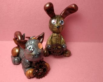 Steam punk wolf and bunny, polymer clay sculptures