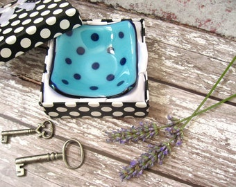1 X blue, Polka dot, tiny trinket dish, Royal blue dotd, fused glass ring dish,friend gift, office desk, key dish,DH222 candle holder, boxed