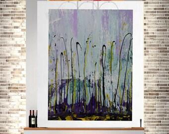 Large original abstract giclee print painting acrylic Art purple blue painting abstract modern wall art acrylic canvas fine art wall artwork