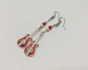Earrings silver, red with guitar ref 854