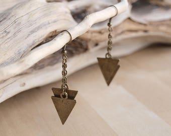 Gold Geometric Triangle Earrings, Chevron Earrings, Modern Triangle Dangles, Tribal, Minimal, Layered Chevron