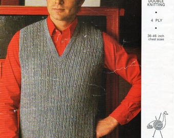 """mens cable slipover knitting pattern pdf 4ply DK mnes sleeveless pullover vintage 1960s 36-46""""DK lt worsted 8ply 4ply sport instant download"""