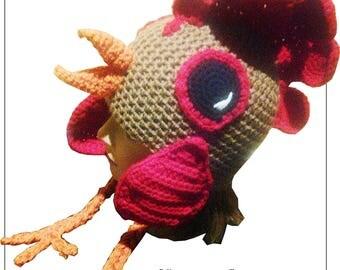 Crochet Rooster Hat Pattern