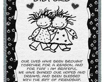 Personalized Huggin Sisters Blanket Throw Gift for Sister
