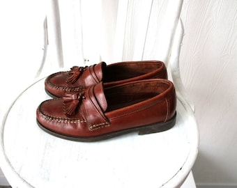Vintage Dexter Brown Leather Fringed Loafers Leather Moccasins Size 7.5M