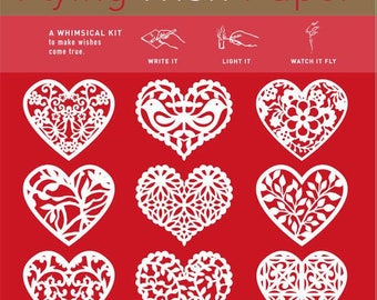 Flying Wish Paper - paper heart design - package of 15 wishes, make a wish